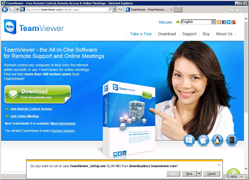 Screenshot of Teamviewer.com website