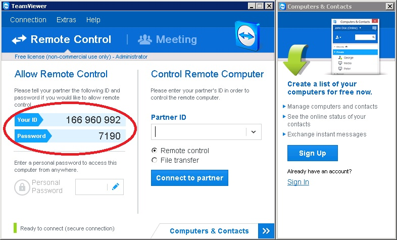 Teamviewer ID and Password